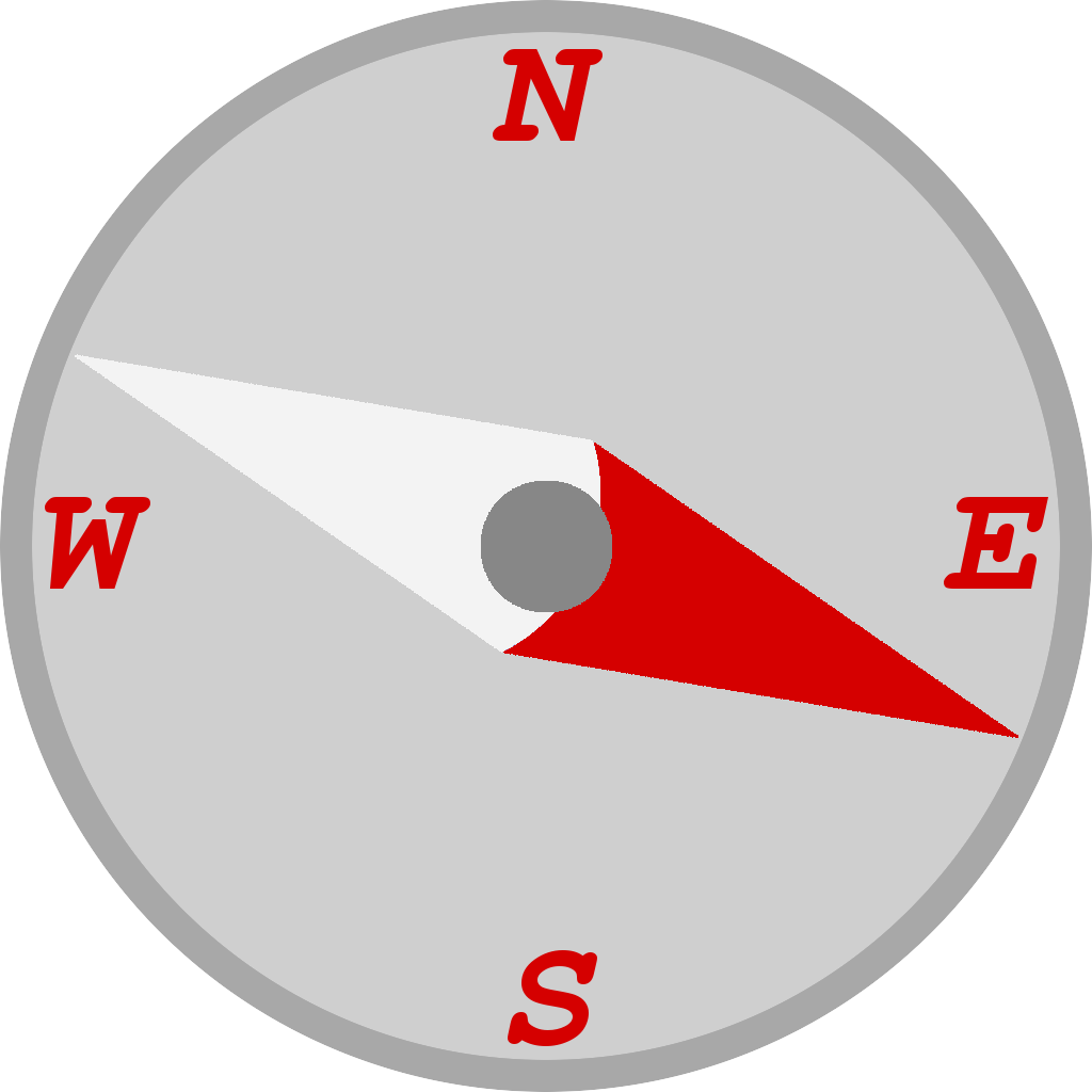 Compass with needle pointing east-south-east